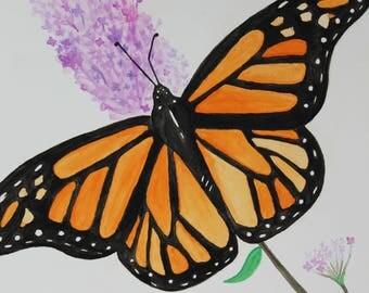 Original Monarch Watercolor Painting