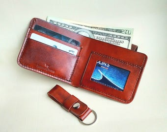 Personalized Men's Leather Wallet and excellent keychain valentine's gift! Special offer! One lot - 2 products!