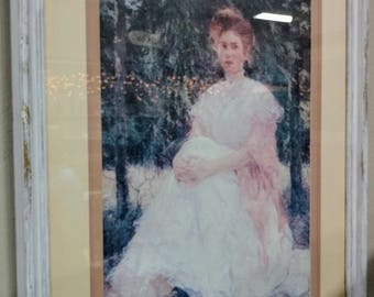 """Re-done chalk paint framed and matted print of """" Woman posing in a garden"""""""