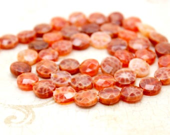 Red Fire Agate Flat Faceted Round Gemstone Beads
