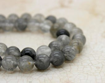 Cloudy Quartz Smooth Round Natural Gemstone Beads (6mm 8mm 10mm)