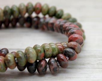 "Unakite Rondelle Gemstone Beads 8"" strand (5mm x 8mm beads, 2.5 mm hole)"