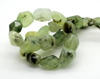 """Natural Prehnite Green Faceted Smooth Diamond Cut Nugget Loose Beads - Full 15.5"""" Strand"""