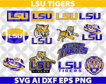 LSU TIGERS Louisiana State University SVG, Eps Ai Dxf Png Monogran Silhouete Cricut Clipart Decal
