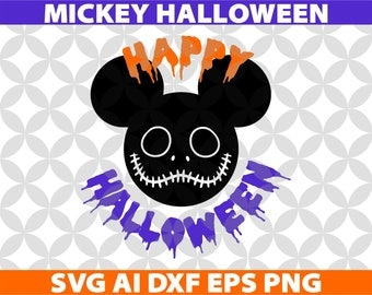 Mickey Halloween SVG, Eps Ai Dxf Png Monogran Silhouete Cricut Clipart Decal