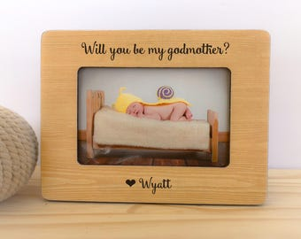 Will you be my Godmother Frame Godparents Frame Godmother Gift Goddaughter Godson Frame Godparents Thank You Gift Baptism Dedication