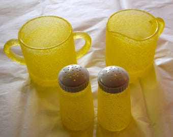 Vintage Yellow Spaghetti Glass S&P shakers with creamer and sugar bowl