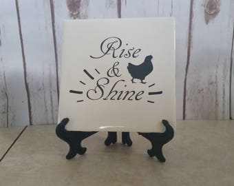 Rise & Shine, Kitchen Decor, Home Decor, Rooster, Tile with saying, Christmas, Gift