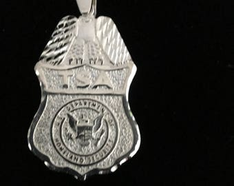 TSA Badge Pendant, Sterling Silver