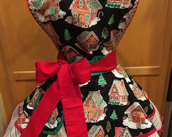 Handmade Dazzling Christmas Gingerbread House Holiday Apron