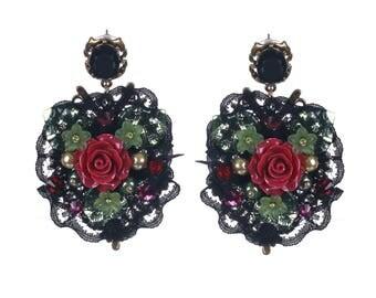 Maroon Earrings, Baroque Earrings, Deep Red Rose Earrings Long Dangle Earrings Romantic Bridesmaid Gift Flower Earrings Bridal Dark Maroon