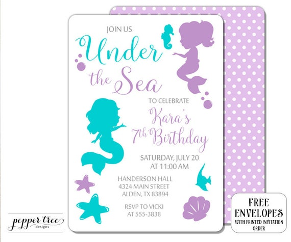 Mermaid birthday invitation in aqua and purple under the sea il570xn filmwisefo