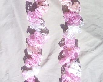 Pink and white ruffled scarf
