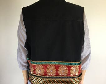 Black Denim Vest | Upcycled | Reused vintage Indian embroidery | Size medium