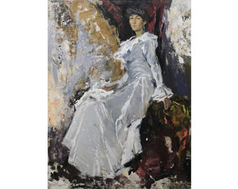 Woman portrait New art Female figure Oil Painting Original art Portrait painting IMPRESSIONISM Colorful art Oil on canvas by A. Onipchenko