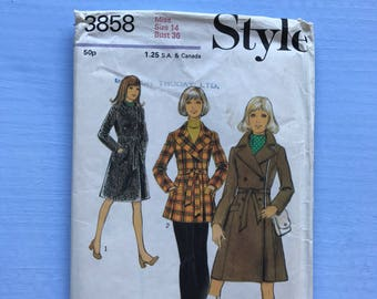 Style 3858 Retro Vintage 1970's Coat, Jacket, woollen, Tweed, Winter, Belted, Sewing Pattern Size 14 Bust 36 inches