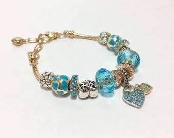 Handmade Glass Bead Blue Heart Bracelet