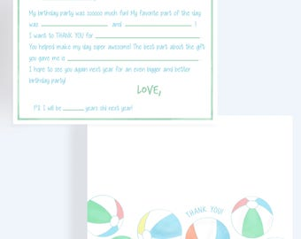 Beach Balls Thank You Note // Fill In The Blank Thank You Card