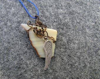White Oregon Coast Agate Slice Pendant Wrapped in Brown Wire