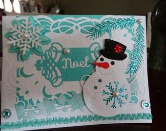 Caribbean Blue & White Christmas Snowman Card