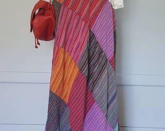 Cotton patchwork hippie wrap skirt. Vintage bohemian skirt size S/M