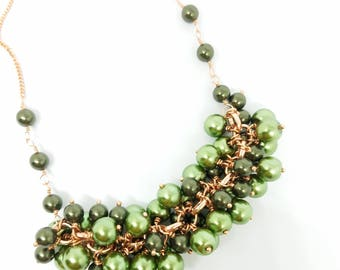 Two toned green and copper necklace