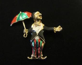 Vintage Colourful Enamel Clown Holding Umbrella Brooch in Gold Tone