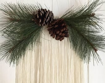 40% OFF SALE - Christmas wall hanging - holiday greenery - pinecone and pine - fiber art