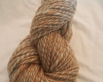 Handspun naturally dyed brown and blue yarn