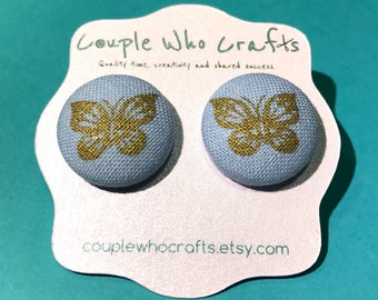 Blue & Gold Butterfly Fabric Covered Button Earrings Stud Earrings Fabric Jewelry Fabric Button Earrings Button Studs Posts Costume Jewelry