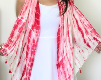 Pink hand tied and dyed classic silk scarf with tassels, every season silk scarf, pink and creme scarf, large soft coverup scarf.