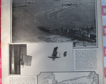 1920–Navy Fliers Start Across- from Leslie's Photographic Review of The Great War (WW I), Vintage, Rare Account of World War I