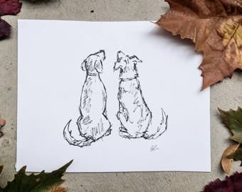 Dogs gazing at the sky - Ink Sketch Print