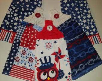 4th of July kitchen towels-crochet towel topper-red white and blue-owl-fireworks-patriotic-hand towels-holiday-summer