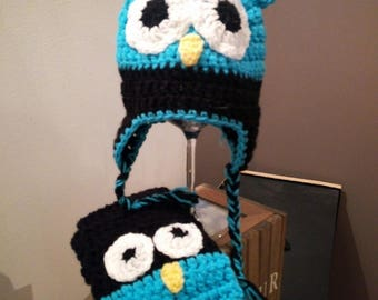 crochet OWL scarf with matching Hat