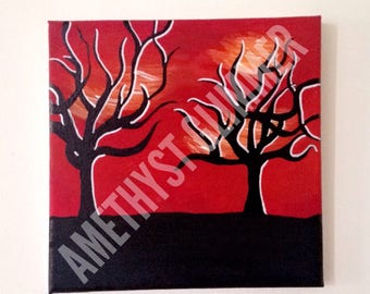 Sahara Sunset Over Trees Canvas Painting