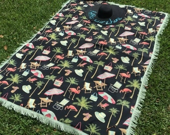 Palm tree flamingo and beach chair  black fabric with green fringe Beach / Picnic Mat