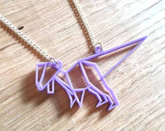 T-Rex necklace, dinosaur necklace, origami dinosaur, acrylic necklace, laser cut, lilac, fun jewellery, dinosaurs, gifts for her, kitsch