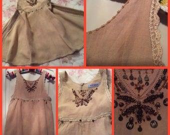 Chic Kenzo dress for girl 6-8 years old linen, cotton handmade crochet