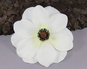 Vintage inspired white Anemone rockabilly hair flower/Hairflower