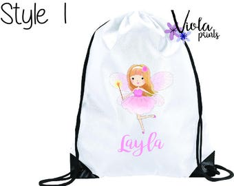 Personalised Girls PE bag, Swim Bag, Gym bag, School Bag, Childrens Bag, Drawstring bag Back to Scholl