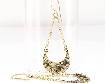 Crescent Moon, Antiqued Bronze dangle Earrings