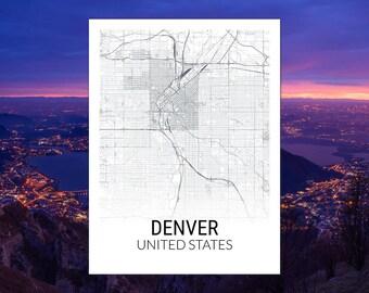 Denver Colorado USA Map Print