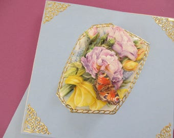 3D flowers and Butterfly card