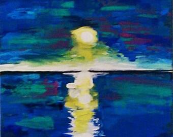 Good Night Moon Glow in the Dark Painting, Wall Art