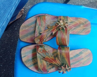 Handmade leather sandals wedge heel