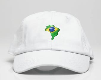 White Brazil Country Dad Hat