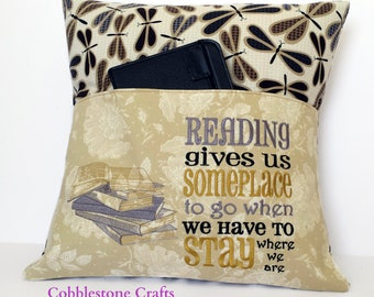 Bookstack Reading Pocket Pillow - Reading Pillow, Pocket Pillow, Reading gives us somplace to go when we have to stay where we are