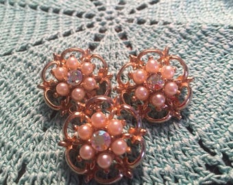 Set of 3 faux pearl and rhinestone brooches 1960s