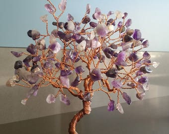 amethyst tree of life,bonsai tree, feng shui, gemstone tree, handmade, home decor, tree of life, tree sculpture art,wire copper tree